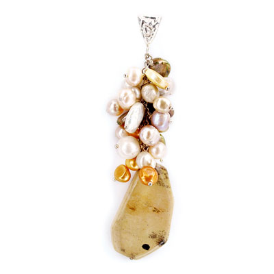 Freshwater cultured pearls with Picture Jasper, Silver Pendant (TRP-7002)
