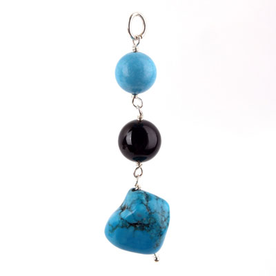 Freshwater cultured pearls with Turquoise, Black Agate, Sterling  Silver Pendant (TRP-7012)