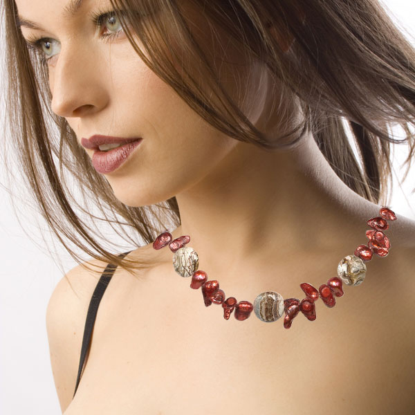 20 Inch Freshwater Pearl Necklace by IPEARL with Red Blister Pearl and Agate; Copper Clasp (TRN-10013)