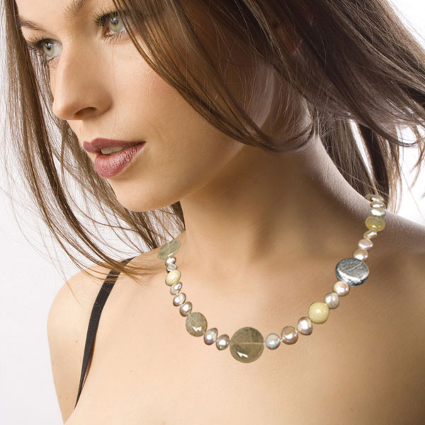 IPEARL 24 Inch Freshwater Pearl Necklace with Baroque Pink Pearl & Yellow Jade, Silver Clasp (TRN-10306)