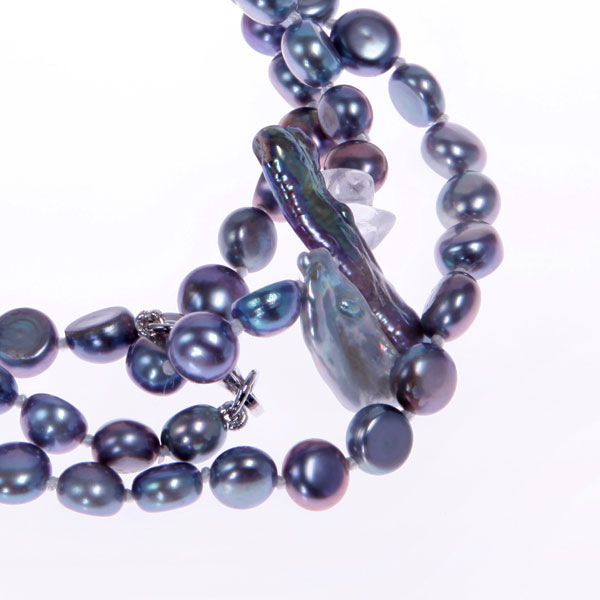 Freshwater Pearl Bracelet by IPEARL with 7-8mm Peacock Baroque Pearls,  with Crystal , Silver Clasp (TRB-10699-15)