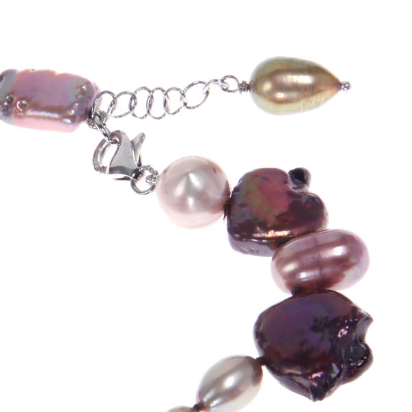 Freshwater Pearl Bracelet by IPEARL with  Purple Stick Pearls,  with Agate (TRB-10700m)