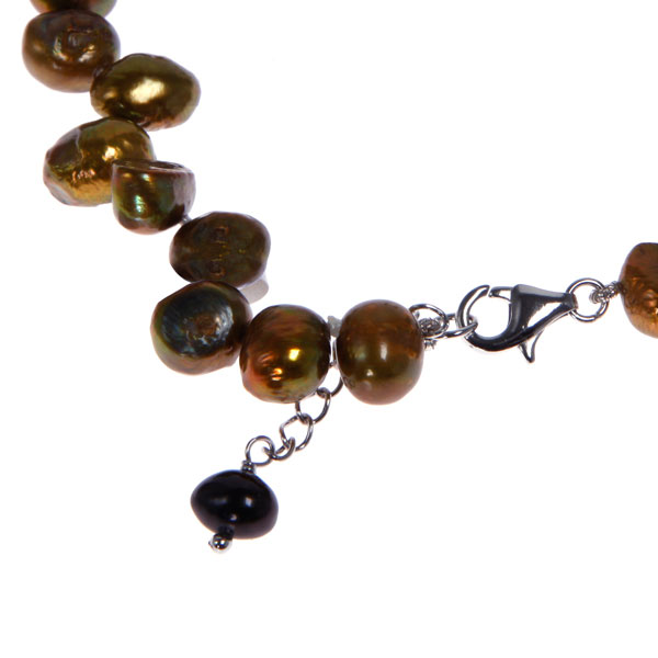 Freshwater Pearl Bracelet by IPEARL with 7-8mm Brown Baroque Pearls,  with Agate, Jade , Silver Clasp (TRB-10724-10)