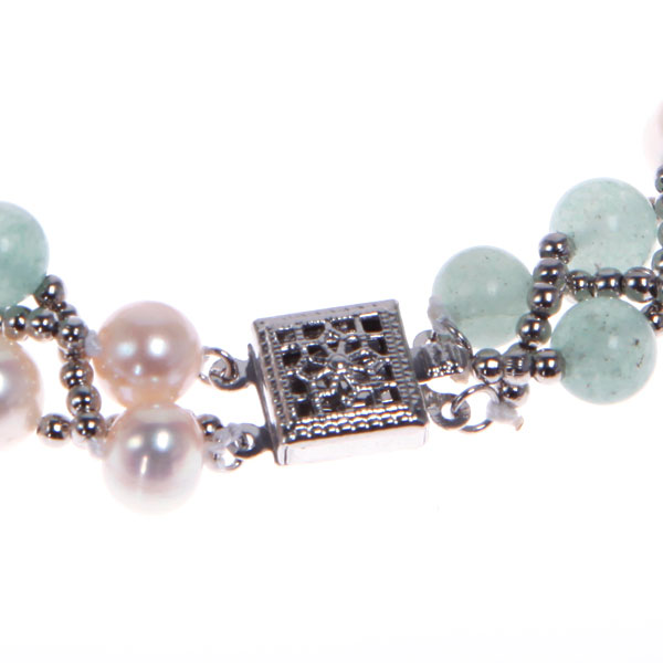 Freshwater Pearl Bracelet by IPEARL with 8-9mm White Round Pearls,  with Aventurine , Copper Clasp (TRB-1310)