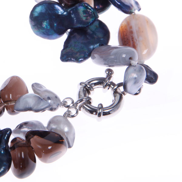 Freshwater Pearl Bracelet by IPEARL with Agate & Smoky Quartz (TRB-2359b)