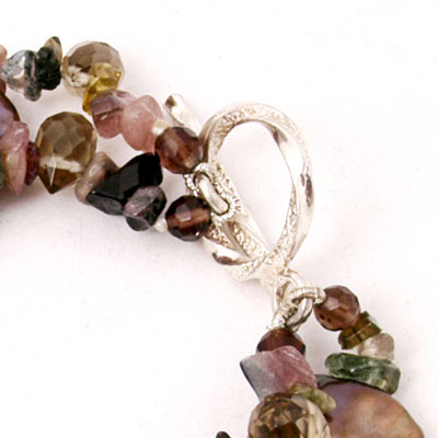 IPEARL 6.5 Inch Freshwater Pearl Bracelet with Purple Coin Pearls, Smoky Quartz & Tourmaline (TRB-3403)