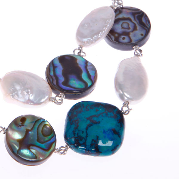 Freshwater Pearl Bracelet by IPEARL with White Coin Pearls, Chrysocolla & Shell (TRB-3521a)