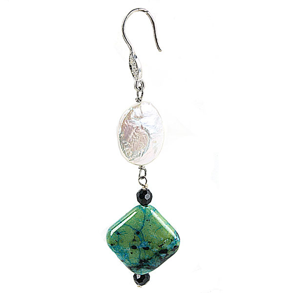 Sterling Silver Freshwatear Pearl Earring by IPEARL with White Coin Pearl, Malachite, Crystal (TRE-3536)
