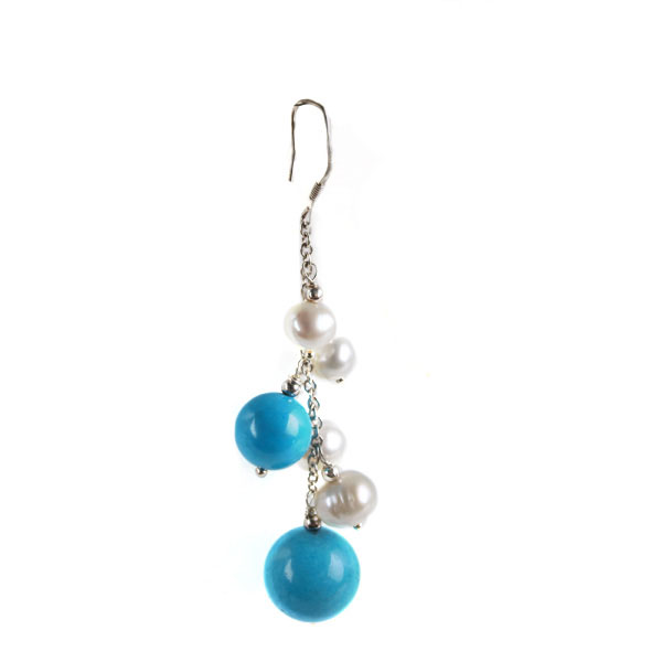 Sterling Silver Freshwater Pearl Earring by IPEARL with 6-7mm White Round Pearl, Turquoise (TRE-3643)