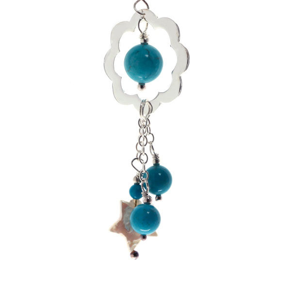 Freshwater Pearl Earrings by IPEARL with Star Pearls & Turquoise (TRE-3705)