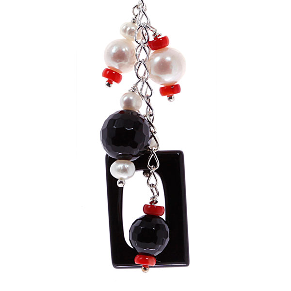 Freshwater Pearl Earrings by IPEARL  with Red Coral & Black Agate (TRE-3782)