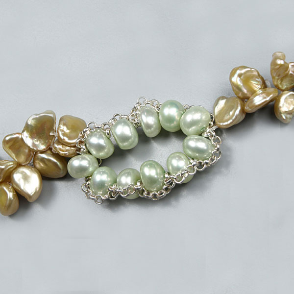 Freshwater Pearl Necklace by IPEARL with 5-6mm Green Keshi Pearls, Matinee(24 Inch), 1-Strand , Silver Clasp (TRN-10001)