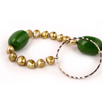 Freshwater Pearl Necklace by IPEARL with 7-8mm Yellow Baroque Pearls, with Jade (TRN-10027)