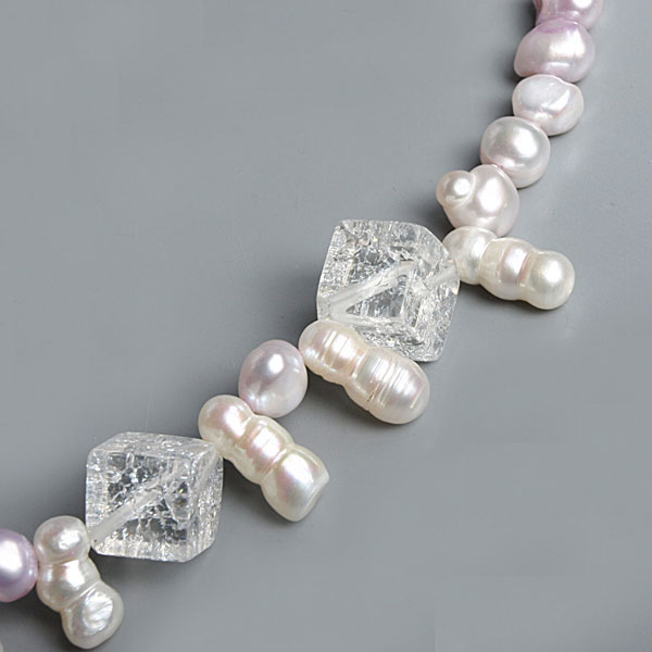 30 Inch Freshwater Pearl Necklace by IPEARL with 7-9mm Purple Baroque Pearls & White Gourd Pearls and Crystal (TRN-10043)