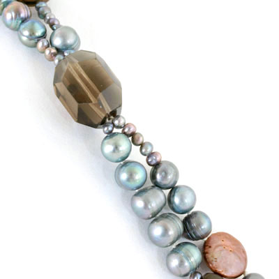 IPEARL 2 Strand 24 Inch Freshwater Pearl Necklace with Round Blue Pearl, Smoky Quartz & Agate (TRN-10439)