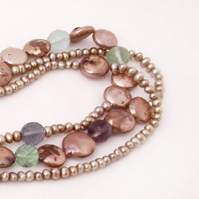 IPEARL 3 Strand 24 Inch Freshwater Pearl Necklace with Brown Pearls and Fluorite (TRN-10455)