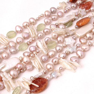 72 Inch Freshwater Pearl Necklace by IPEARL with 7-8mm Pink Baroque Pearls, Serpentine, Agate & Garnet (TRN-10485)