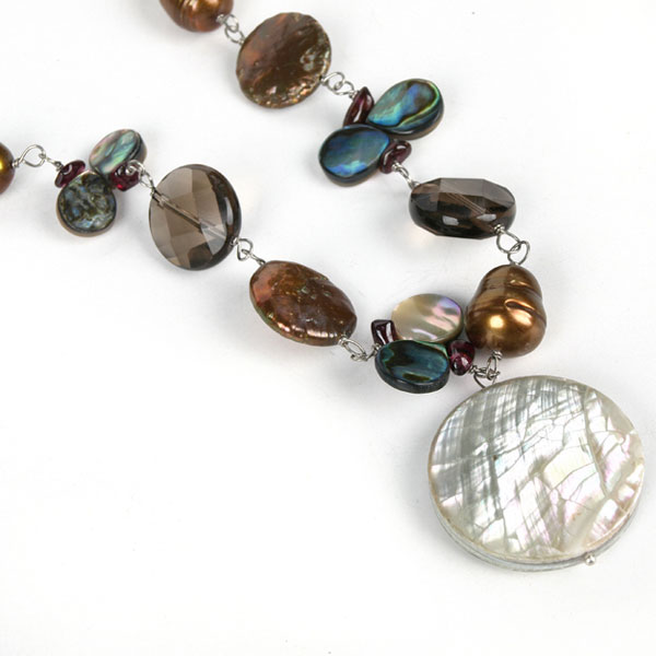 20 Inch 2 Strand Freshwater Pearl Necklace by IPEARL with Brown Pearls, Shell, Crystal & Garnet; Pearl Clasp (TRN-10539)