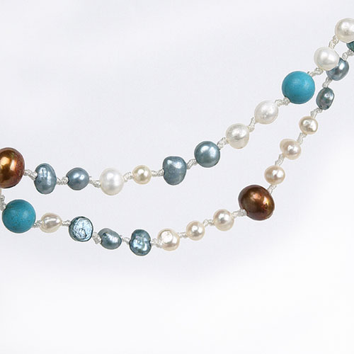 IPEARL Freshwater Pearl Necklace with 4-5mm Multicolor Round Pearls, 20 Inch, with Turquoise, Multiple Strands , Pearl Clasp (TRN-10549)