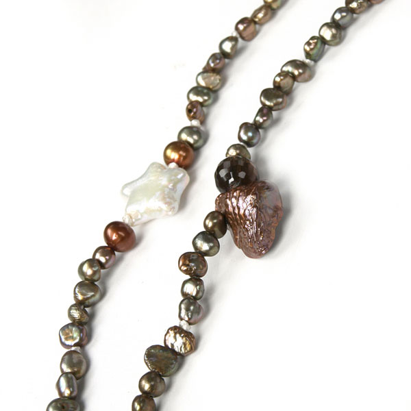 IPEARL 7-Row 30 Inch Timeless Necklace with Round Multicolor Pearl and Smoky Quartz, Pearl Clasp (TRN-10699C)
