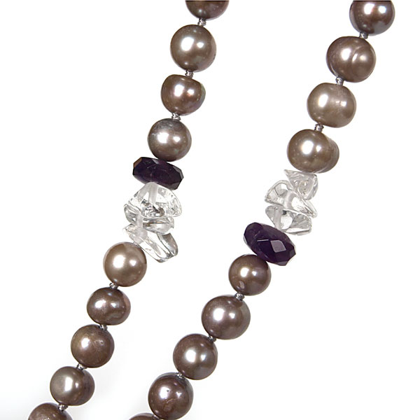 IPEARL 4 Strand 24 Inch Freshwater Pearl Necklace with Round Brown Pearls,  Amethyst and Crystal, Pearl Clasp (TRN-10703H)