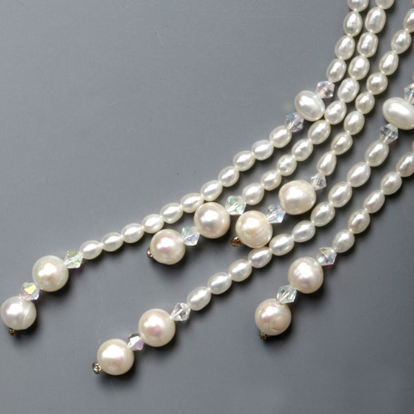 54 Inch Freshwater Pearl Lariat Necklace by IPEARL with 5-6mm White Round Pearls (TRN-1281)