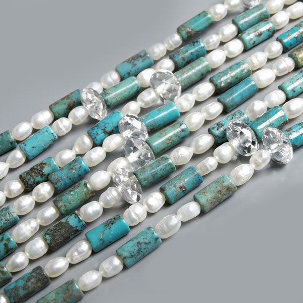 64 Inch Freshwater Pearl Necklace by IPEARL with 4-5mm White Rice Pearls, Crystal & Turquoise (TRN-1724)