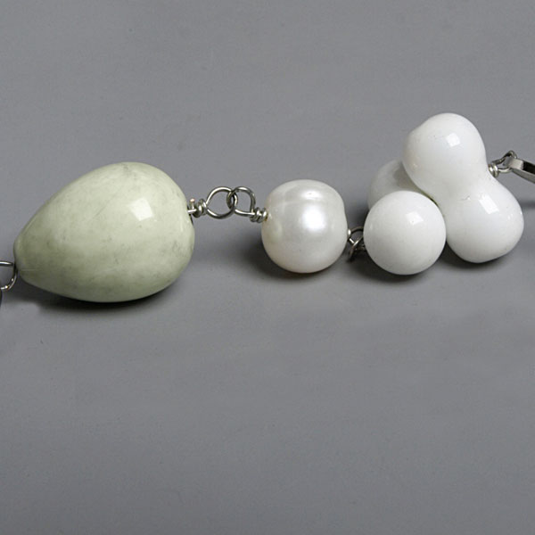 54 Inch Freshwater Pearl Necklace by IPEARL with Round White Pearl, White Porcelain & Lemon Chrysoprase (TRN-30059)