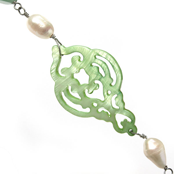 Freshwater Pearl Necklace by IPEARL with 8-9mm Teardrop White Pearl, Shell & Aventurine; Copper Clasp (TRN-30292)