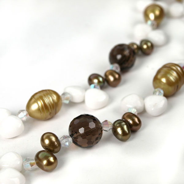 54 Inch Freshwater Pearl Necklace by IPEARL with 8-9mm Brown Baroque Pearls, Crystal & Jade; Pearl Clasp (TRN-3171-P1)