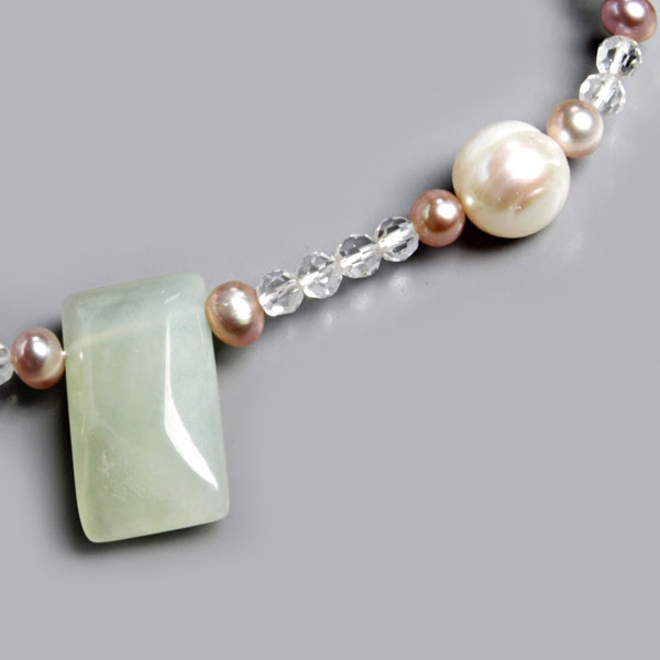 16 Inch Freshwater Pearl Necklace by IPEARL with Round White Pearls, Jade & Crystal; Silver Clasp (TRN-3287-P1)
