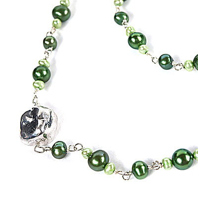 24 Inch Freshwater Pearl Necklace by IPEARL with Round Green Pearls, Silver Clasp (TRN-3987)