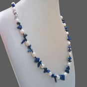 White Freshwater Pearl Necklace by IPEARL with Lapis