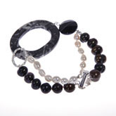 Freshwater Pearl Bracelet by IPEARL with 4-5mm,9-10mm Multicolor Rice Pearls,  with Agate , Silver Clasp