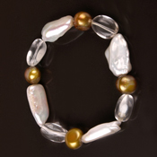 8 Inch White Baroque&Biwa Pearls Bracelet by IPEARL with White Crystal