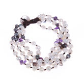 Freshwater Pearl Bracelet by IPEARL with 5-6mm White Round Pearls,  with Amethyst , Pearl Clasp