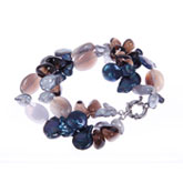 Freshwater Pearl Bracelet by IPEARL with Agate & Smoky Quartz