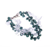 Freshwater Pearl Bracelet by IPEARL with 7-8mm Green Rice Pearls,  with Crystal , Silver Clasp