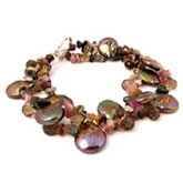 IPEARL 6.5 Inch Freshwater Pearl Bracelet with Purple Coin Pearls, Smoky Quartz & Tourmaline
