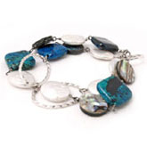 IPEARL Chain Bracelet with Coin White Pearl, Abalone & Chrysocolla, Silver Clasp