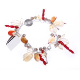 IPEARL Freshwater Pearl Bracelet with Citrine, Agate & Coral