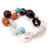 IPEARL Keishi Pearl Bracelet with Turquoise, Agate, Lava & Smoky Quartz, Silver Clasp