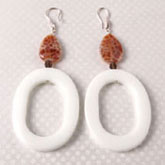 Sterling Silver Earring by IPEARL with Fire Agate, White Porcelain, Smoky Quartz