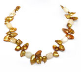 20 Inch Freshwater Pearl Necklace by IPEARL with 7-8mm Golden Blister Pearl & Jade; Copper Clasp