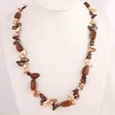 24 Inch Freshwater Pearl Necklace by IPEARL with Red & Golden Blister Pearl and Goldstone; Copper Clasp
