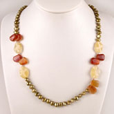 24 Inch Freshwater Pearl Necklace by IPEARL with 7-8mm Yellow Baroque Pearls with Agate & Jade; Copper Clasp