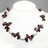 20 Inch Freshwater Pearl Necklace By IPEARL With Red Blister Pearl & White Porcelain; Copper Clasp