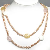 48 Inch Freshwater Pearl Necklace by IPEARL with 7-8mm Pink Baroque Pearls, Rose Quartz, Jade & White Porcelain