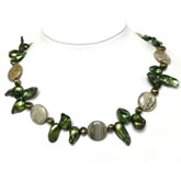 20 Inch Freshwater Pearl Necklace by IPEARL with Green Shell & Keishi Pearl & Agate;Copper Clasp