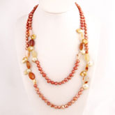 32 Inch Freshwater Pearl Necklace by IPEARL with 7-8mm Red Baroque Pearls & Agate